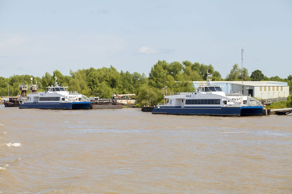 The two new ferries have been tied up just below New Orleans for a year. (Photo by Frank McCormack)