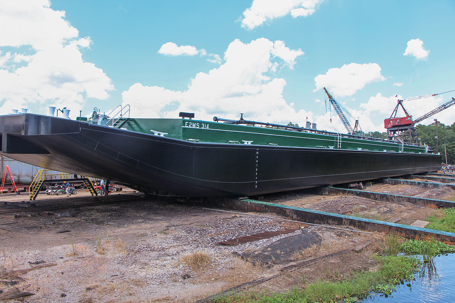 Barge E2MS 314 on launch ways at Arcosa Marine's Madisonville, La., shipyard. (Photo by Jason Koenig)
