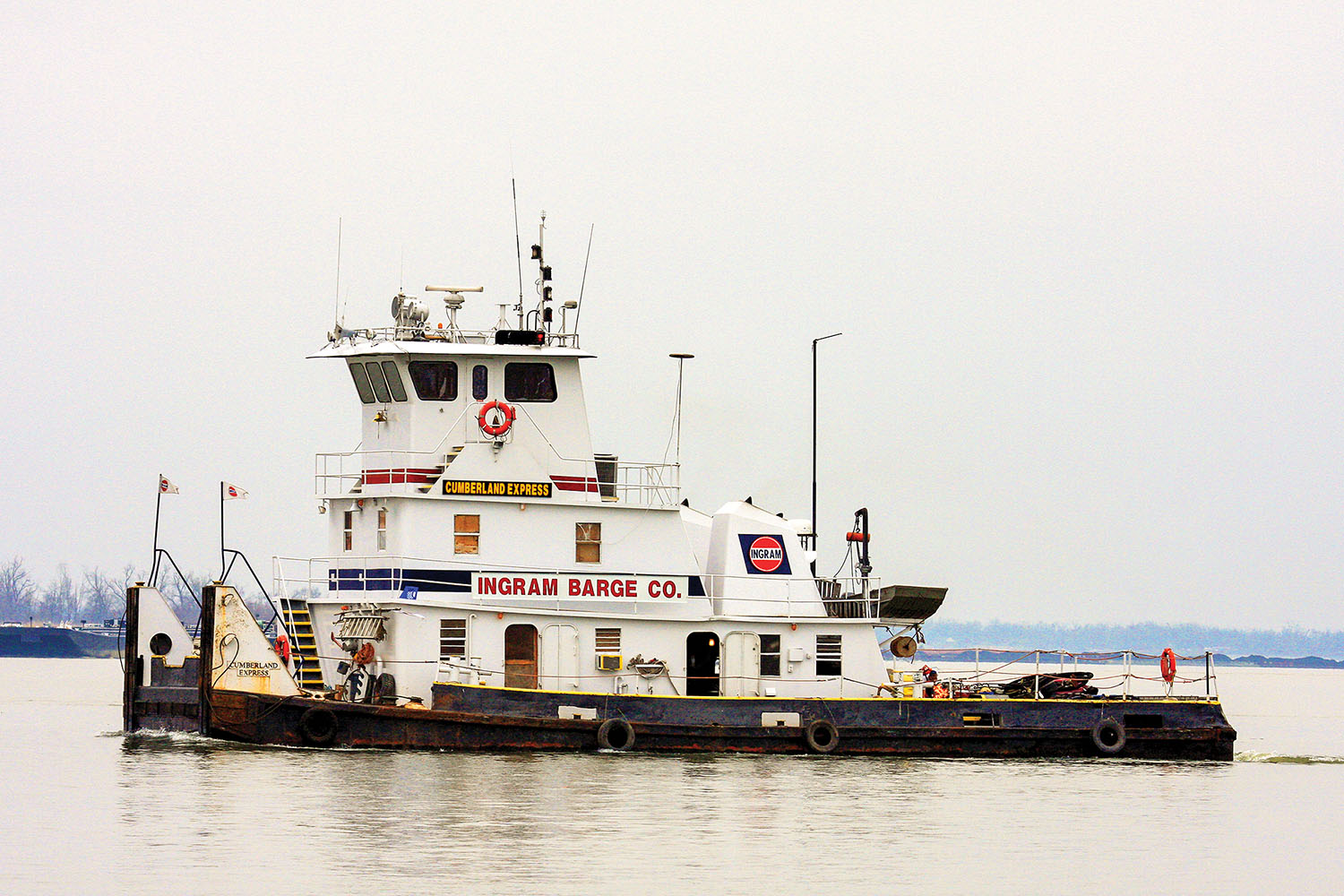 The mv. Cumberland Express, built in 1973 by Scully Bros. Boat Builders, is one of seven towboats that Mavericks Towboat Solutions purchased from Ingram Barge Company. (Photo by Jeff L. Yates)