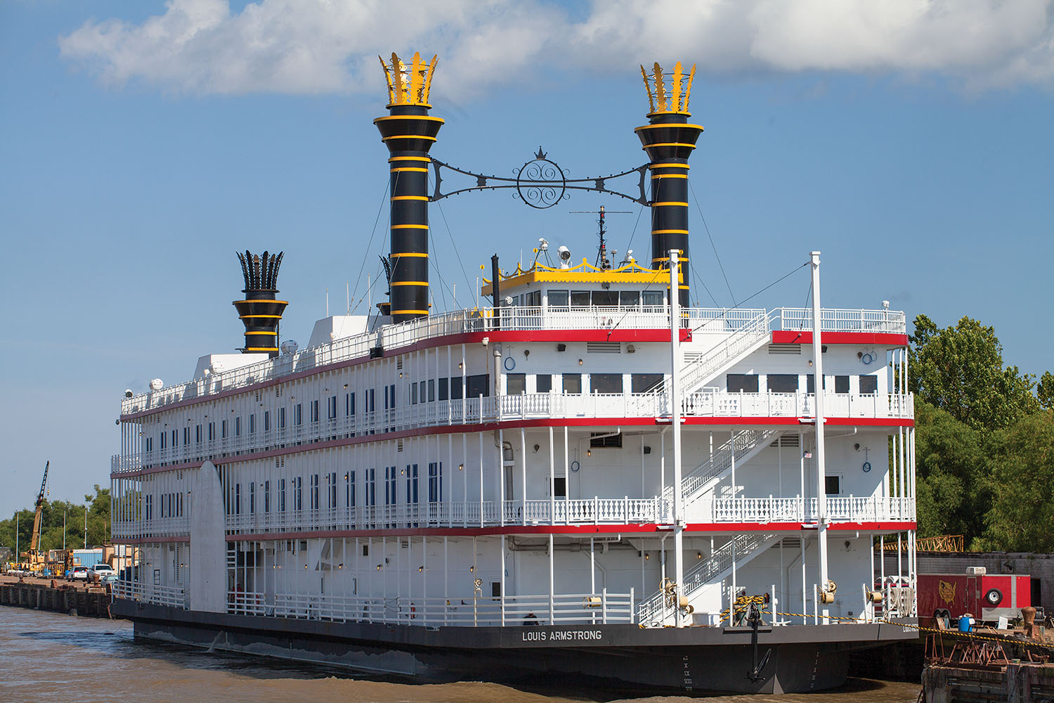 The Louis Armstrong, a jazz-themed excursion boat with a 2,500-passenger capacity, will begin cruising in New Orleans in November. (Photo by Frank McCormack)