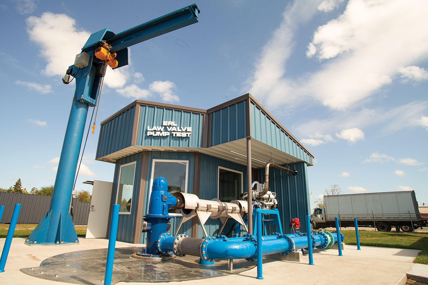 ERL/Law Valve of Texas' new pump test system. (Photo by Frank McCormack)