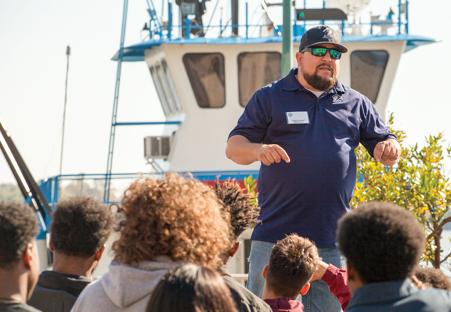 Among the presenters at RiverWorks Discovery's Who Works The Rivers event in New Orleans, Craig Broussard of ADM/ARTCO urged students to earn their high school diploma and consider a maritime career. (Photo by Frank McCormack)