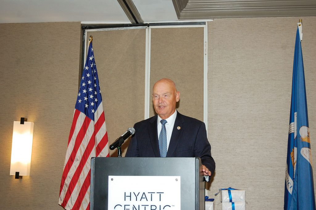 U.S. Navy Rear Adm. (Ret.) Mark Buzby, maritime administrator, discussed the importance of proper management of the National Defense Reserve Fleet. (Photo by Nancy Simms)