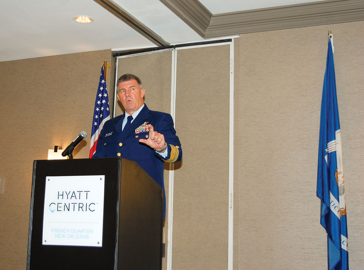 Adm. Karl Schultz, commandant of the U.S. Coast Guard, speaks during the International Propeller Club's Convention and Conference October 15–17 in New Orleans, La. Schultz talked about the importance of developing an arctic shipping route. (Photo by Nancy Simms)