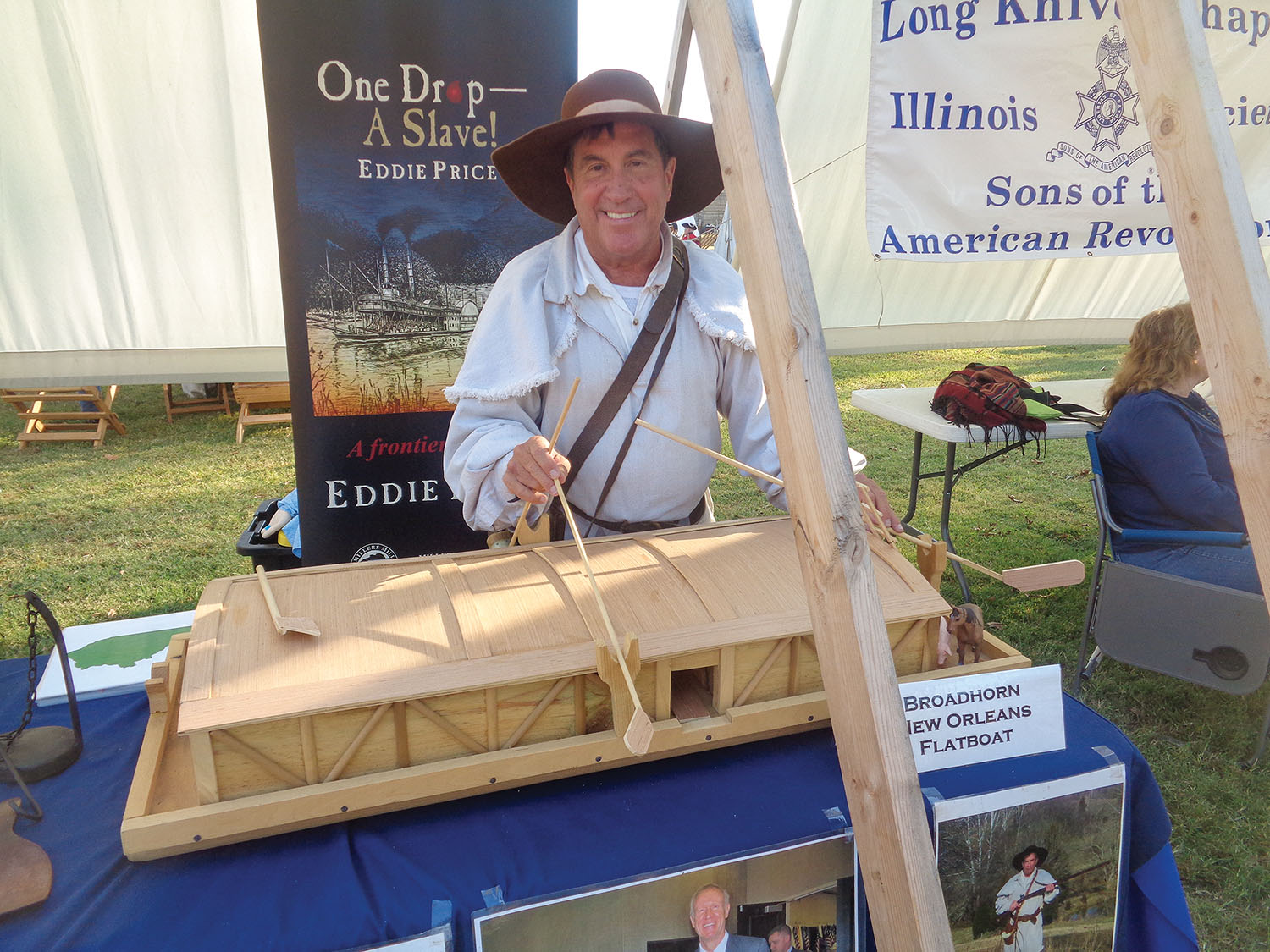 Eddie Price shows a broadhorn flatboat as part of his presentation on Kentucky's Ohio River heritage. (Photo by Shelley Byrne)