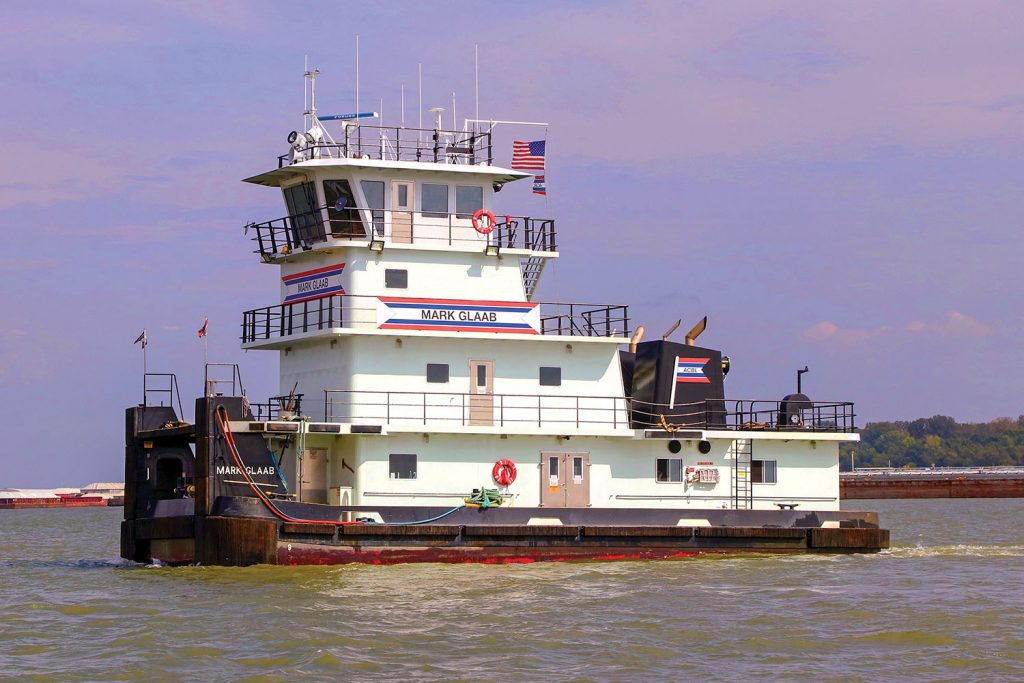 The mv. Mark Glaab was built by Steiner Construction Company. This picture was taken before the likeness of Glaab's fedora was added to the nameplate. (Photo by Jeff L. Yates)