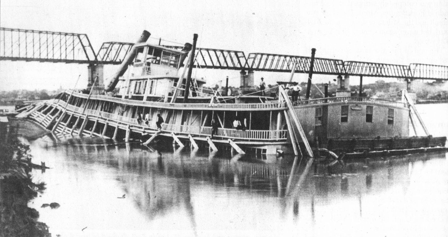 The Montana, shortly after sinking in 1884 at St. Charles, Mo. (Keith Norrington collection)