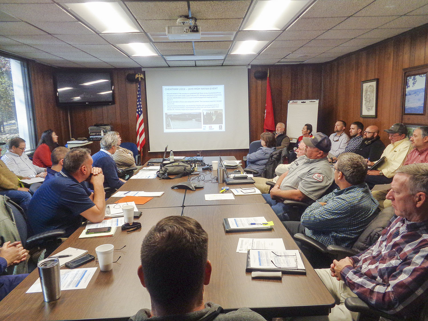 More than 30 people crowd into a meeting room at the Lake Barkley Resource Manager's Office Nov. 14 for the Fall Semi-Annual Navigation Meeting. The meeting included timetables for construction projects that could affect navigation on the inland waterways. (Photo by Shelley Byrne)
