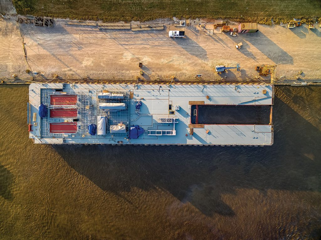 Overhead view of the MacArthur's barge shows the infrastructure installed to accommodate the massive house containing the lever room, offices, and crew quarters. (Photo courtesy of Callan Marine)