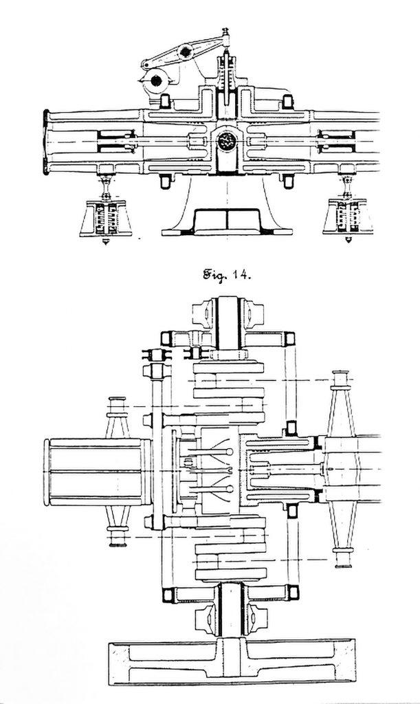 Line drawings of the Petit Pierre's single-cylinder opposed-piston diesel engine.