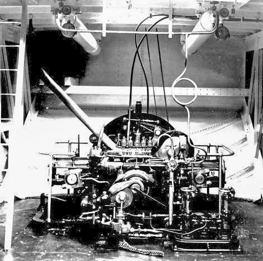 Inside the engine room of the Petit Pierre, looking aft.