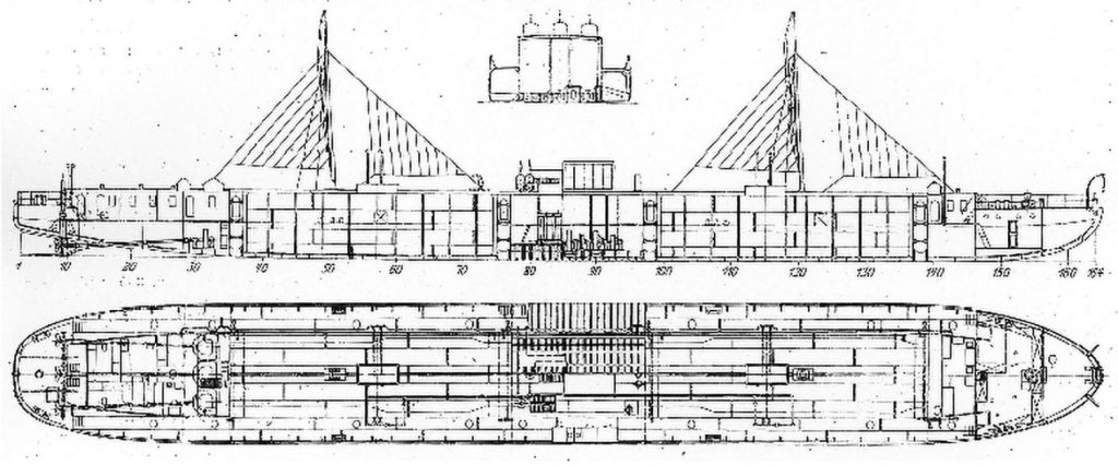 Line drawings of Vandal showing the diesel engines mounted midships, remote from the electric-driven propeller shafts.