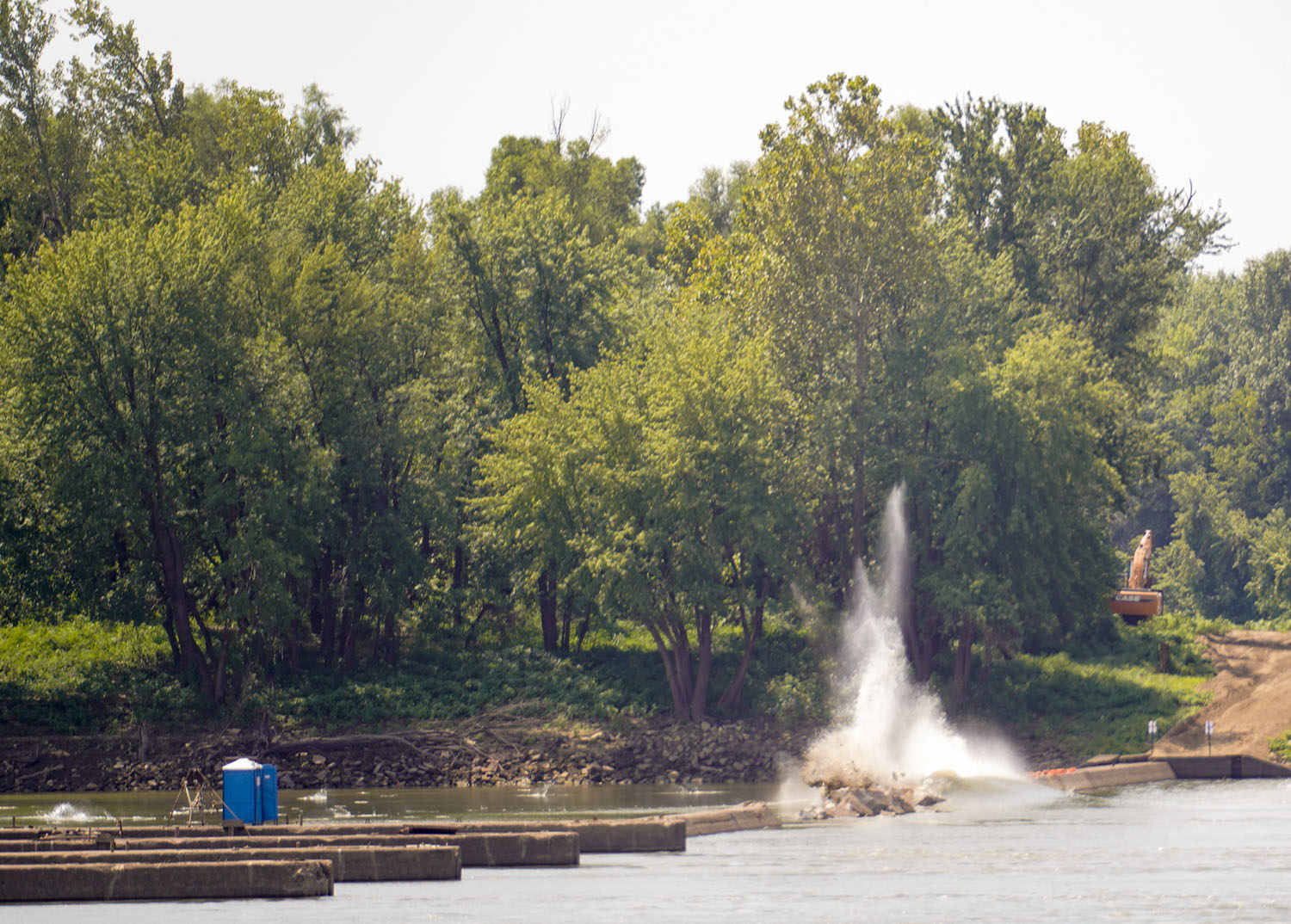 The fixed weir demolition at Locks and Dam 52 took place August 21, 2019. Locks and Dam 52 and 53 were replaced by Olmsted Locks and Dam.
