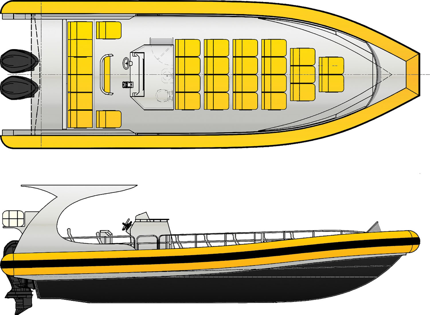 The 37-foot monohull vessel is under construction at Armstrong Marine. (drawings courtesy of Armstrong Marine)