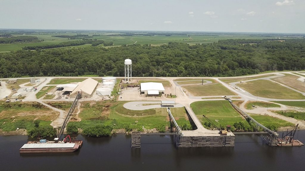 The Port of Rosedale is home to eight tenants, including the Sanders Inc. fertilizer facility at left. At right is the public terminal and port commission office.