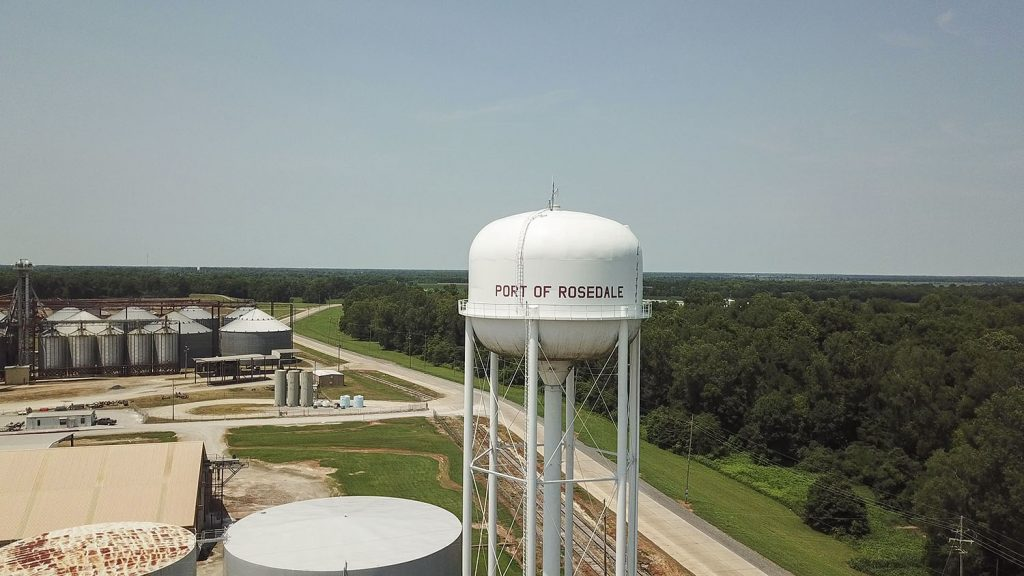 The Port of Rosedale (Miss.) is located along the Lower Mississippi River near the mouth of the Arkansas River. Its water tower is owned by the port commission and also serves as a backup emergency supply for the city of Rosedale.
