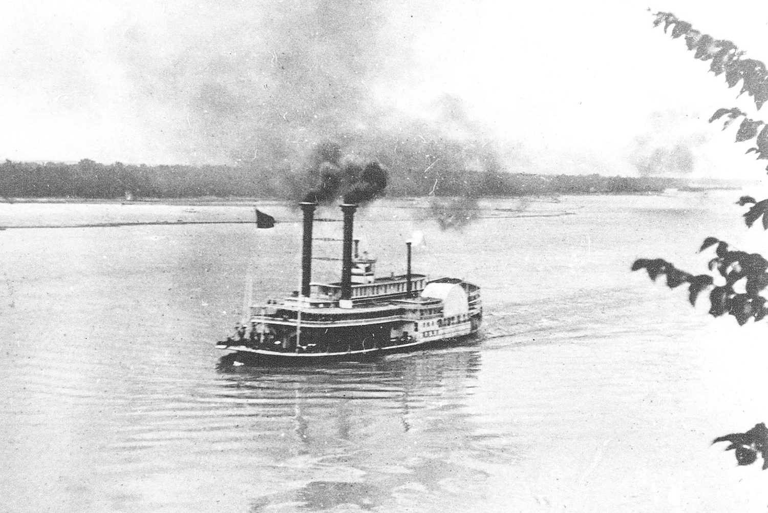 The famed steamer Rob't. E. Lee below St. Louis on the morning of July 4, 1870, nearing its victorious conclusion of the race with the Natchez. This is the only known image taken during the race. (Keith Norrington collection)
