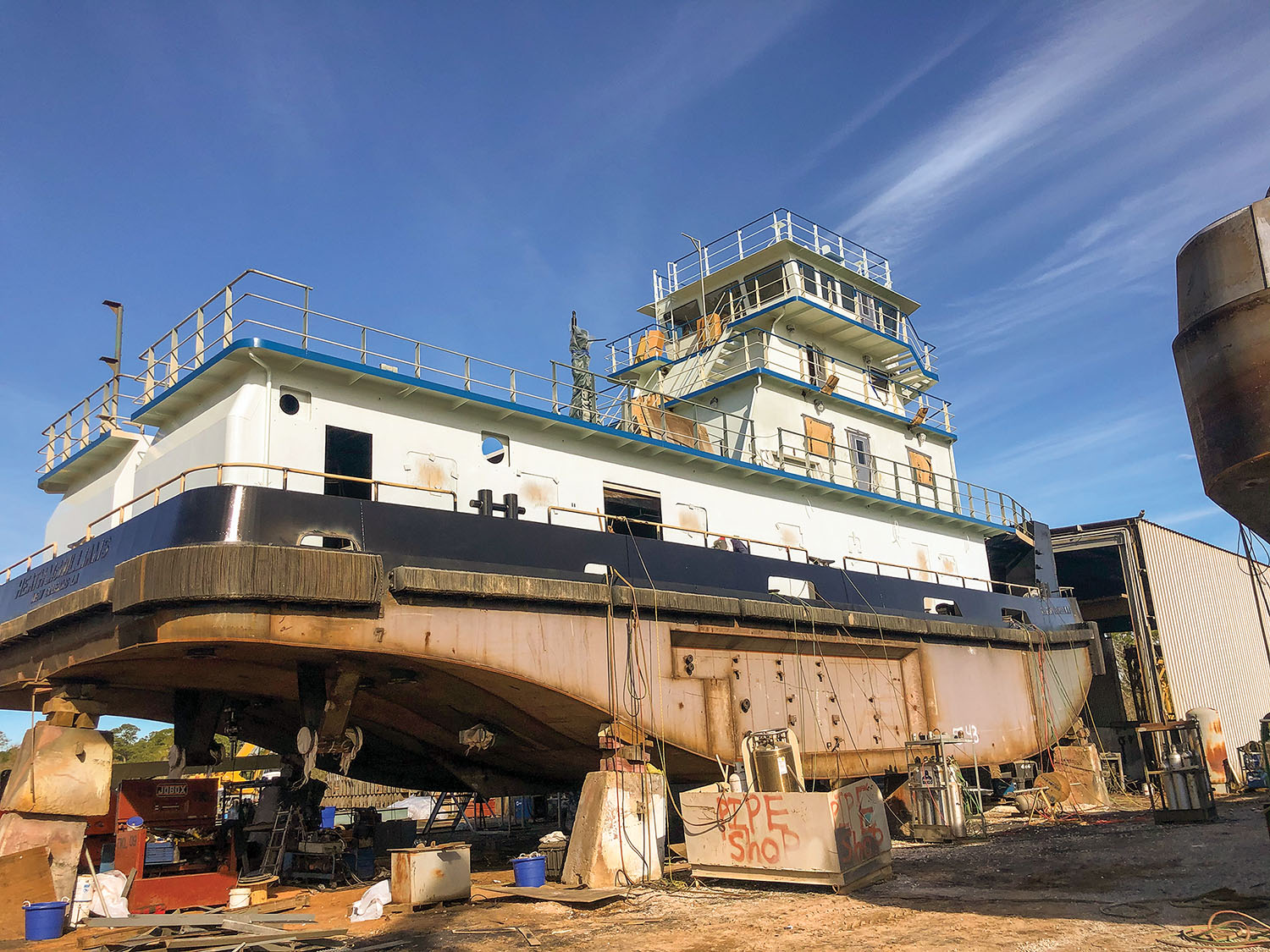 Towboat nearing completion at Steiner Shipyard in Bayou La Batre, Ala.