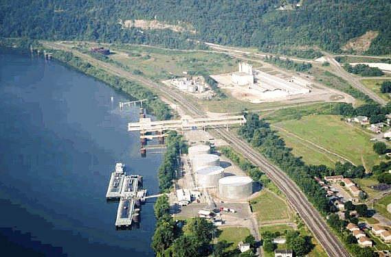 Ohio's Maritime Assistance Program is a new, $23 million grant program funded by the state of Ohio that provides a 50-50 funding match for infrastructure improvements at ports on the Ohio River and Lake Erie or businesses within those ports. Pictured is the Columbiana County Port Authority's Wellsville intermodal facility. Executive director Penny Raina said the facility seems to be a good fit for the program, and her team plans to meet with two businesses with ideas for potential projects. (Photo courtesy of Ohio Department of Transportation)