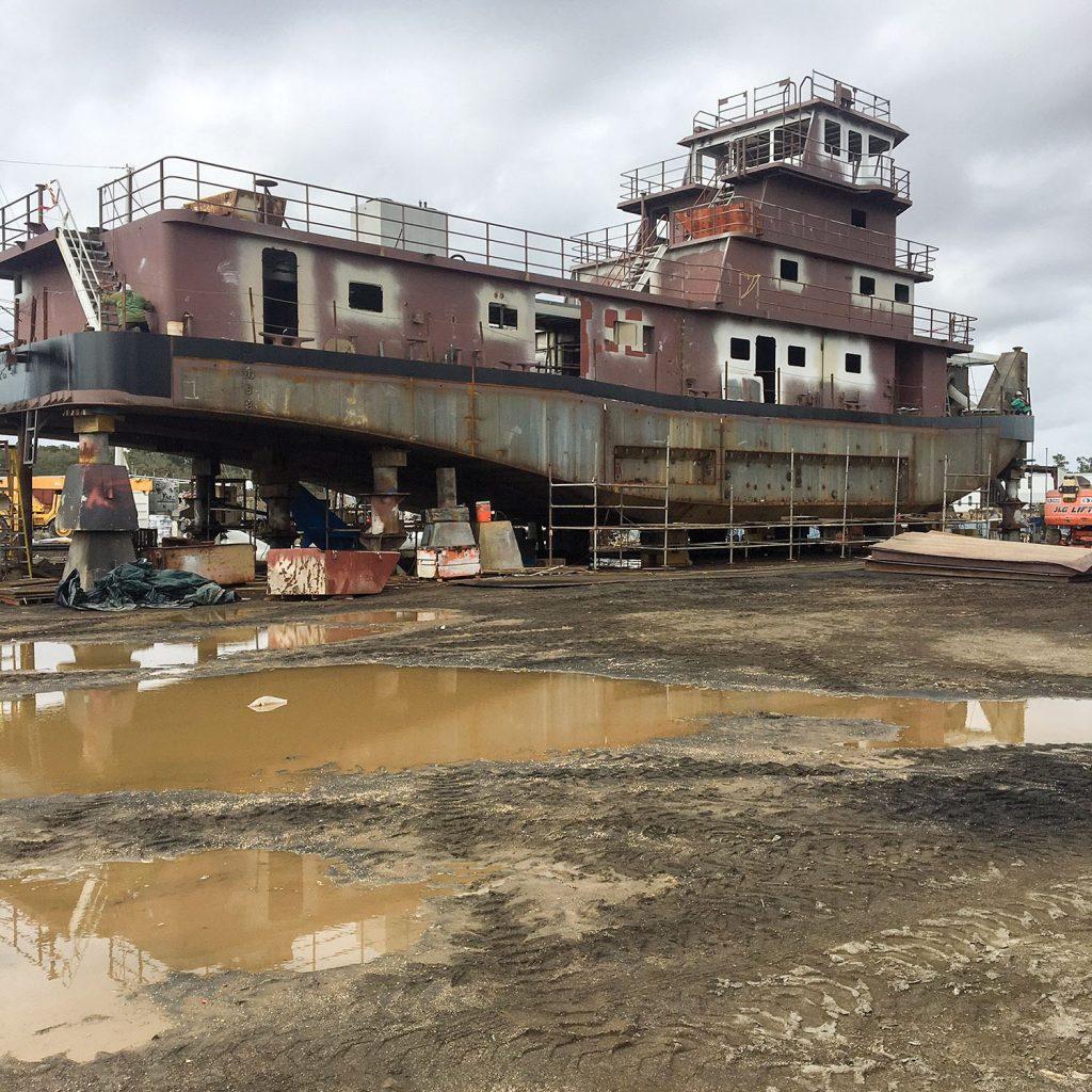 4,000 hp. towboat under construction at Metal Shark in Bayou La Batre, Ala.