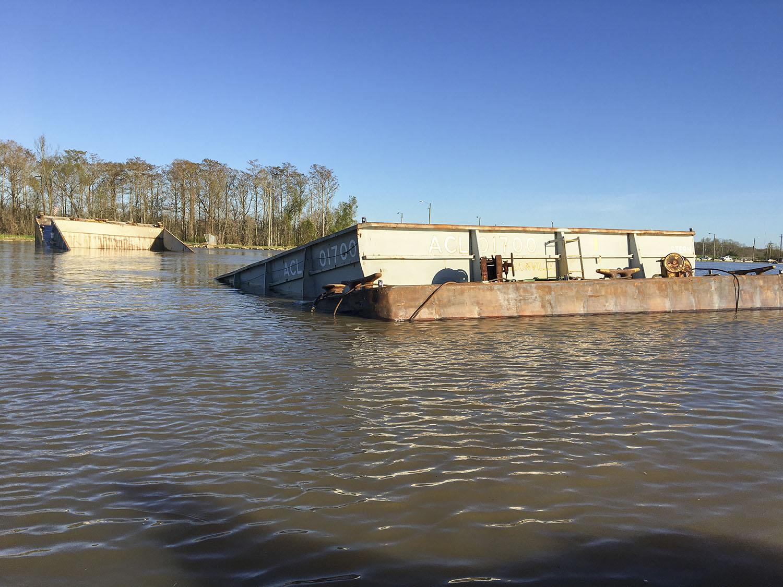 Barge Splits In Half, Sinks In GIWW