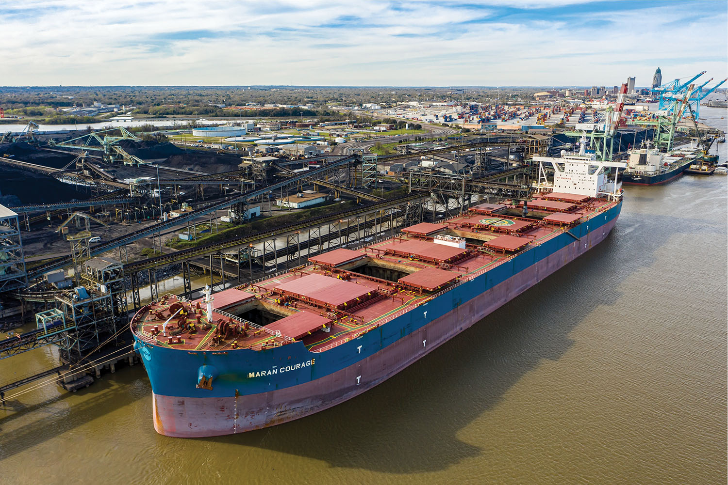 The bulk carrier Maran Courage was loaded with 133,000 short tons of coal at the McDuffie Coal Terminal.