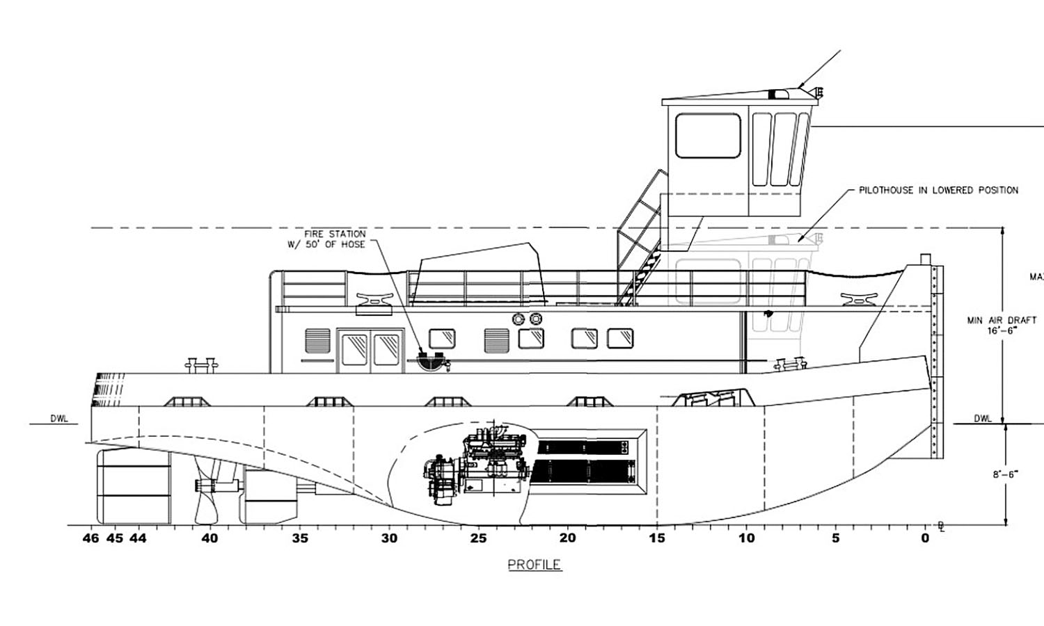 New 1,600 hp. retractable-pilothouse towboat under construction at McGinnis Inc.'s Sheridan Shipyard.