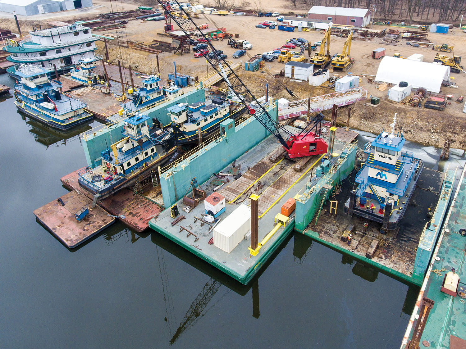 Aerial view of shipyard activities at Newt Marine Service in Dubuque, Iowa. (Photo by Quintin Pfeiffer)