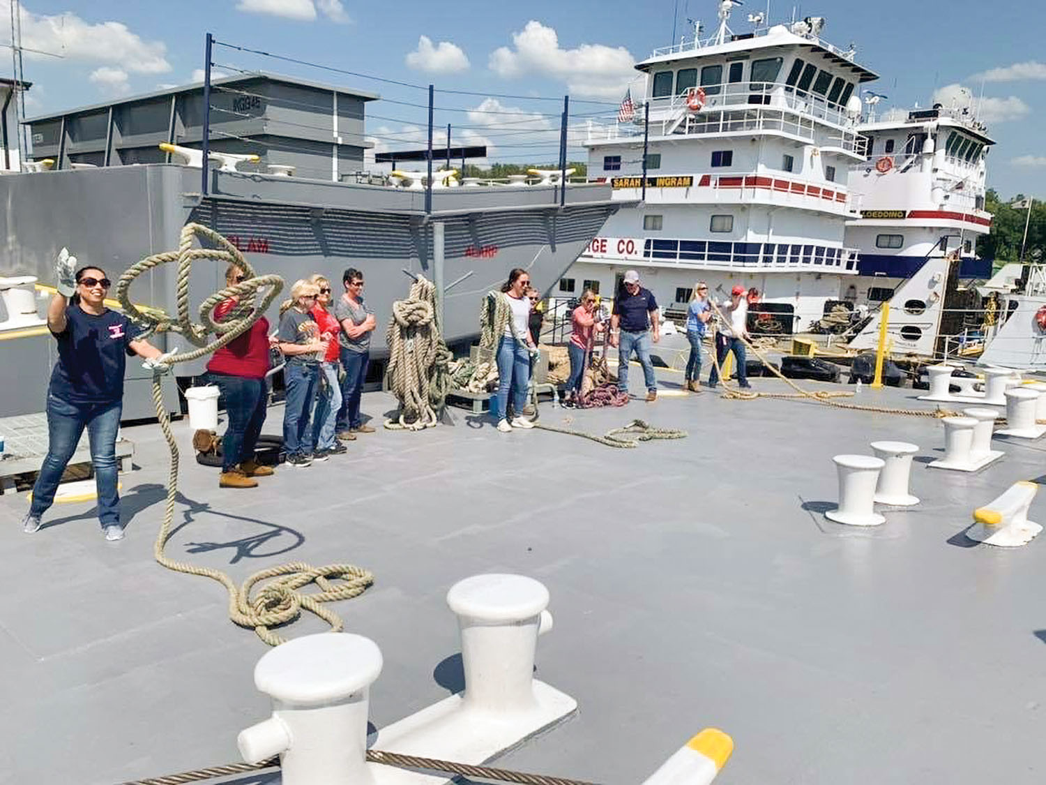 Women from the West Kentucky chapter of Women in Maritime Operations practice throwing line on the Ingram Barge Company training pad as part of one of the chapter's educational events. (photo courtesy of West Kentucky chapter of Women in Maritime Operations)