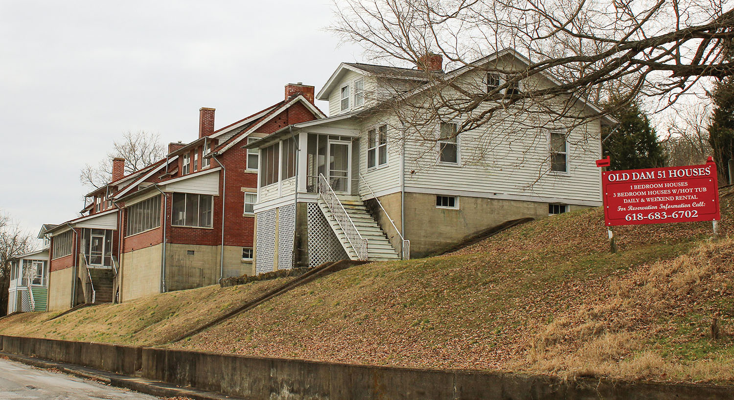 The four lockmaster houses at the former Lock and Dam 51 in Golconda, Ill., are 90 years old but getting a new life as short-term rentals on the website Airbnb.com. (Photo by Shelley Byrne)