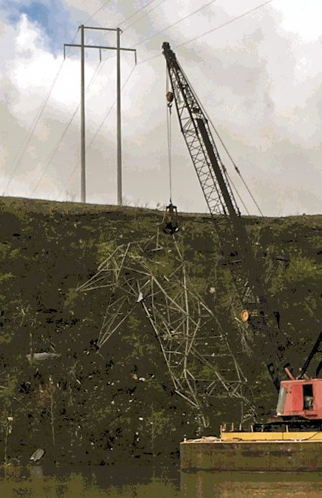 Electrical Transmission Tower Pulled From Cumberland