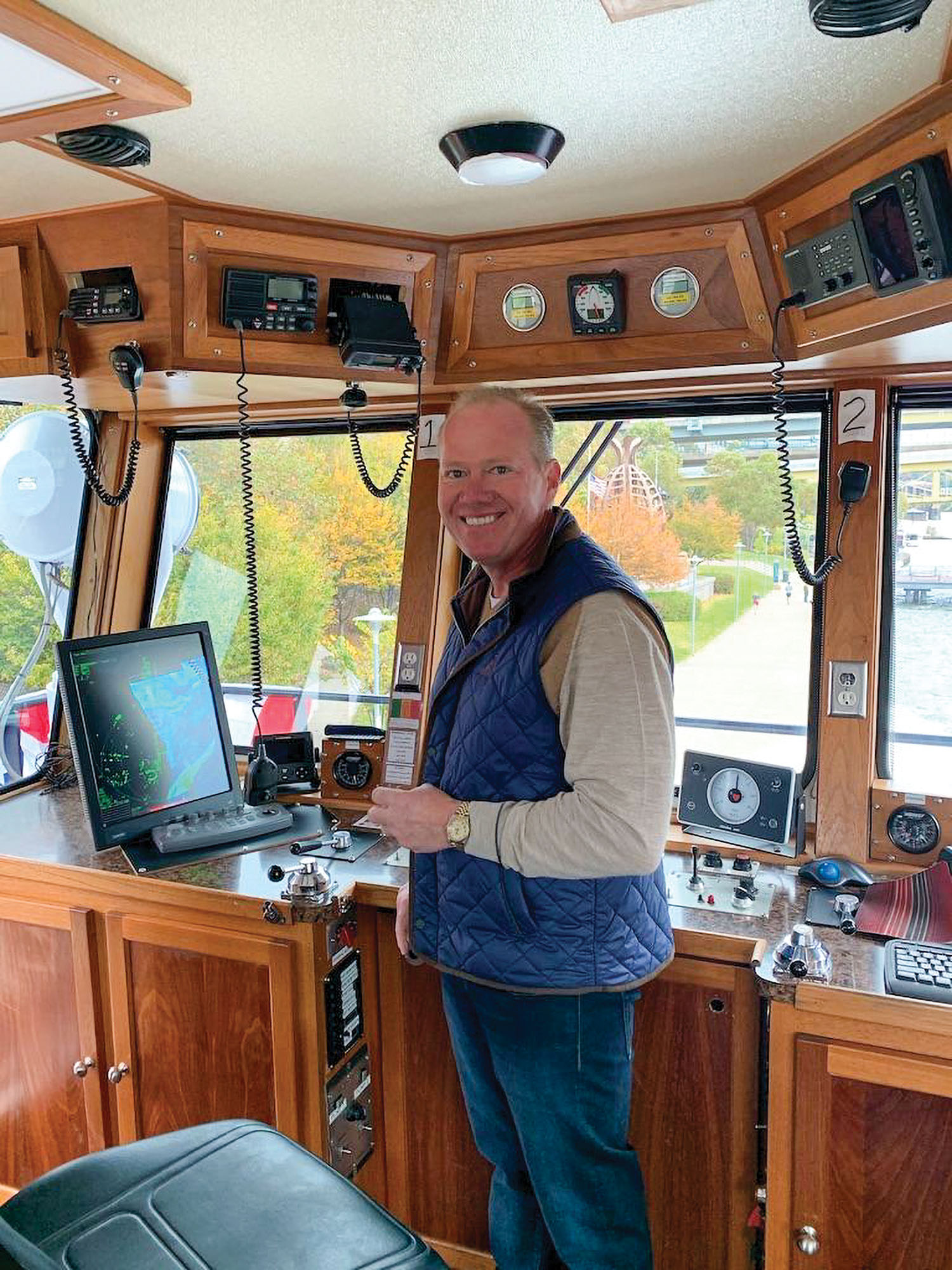 Brad Busatto on the mv. Marne B, which Industry Terminal & Salvage Company converted to a fixed-pilothouse towboat from a retractable.