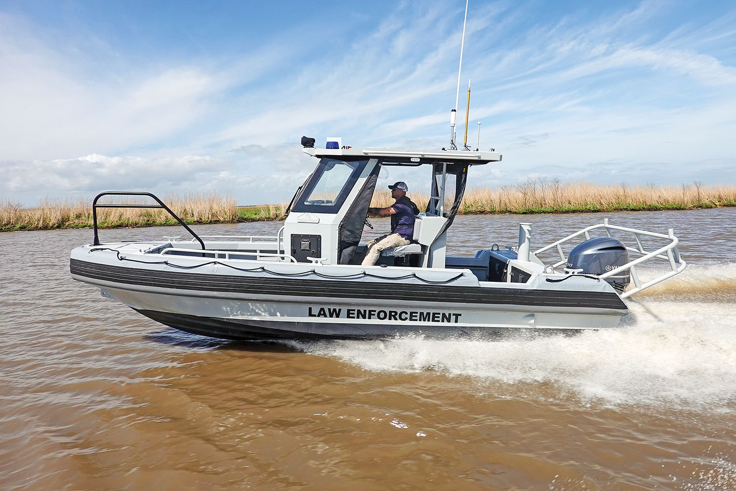 A Metal Shark 23 Relentless patrol boat, part of a five-boat fleet soon to be delivered to Ohio Department of Natural Resources. (Photo courtesy of Metal Shark)