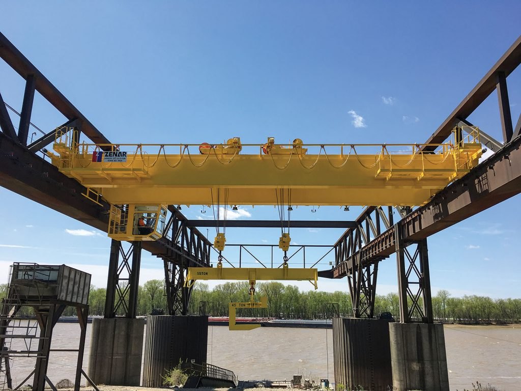 The Port of Indiana-Mount Vernon put a new 60-ton overhead gantry crane into service April 1, the final step in a $2 million capital improvement project. (Photo courtesy of Port of Indiana-Mount Vernon)
