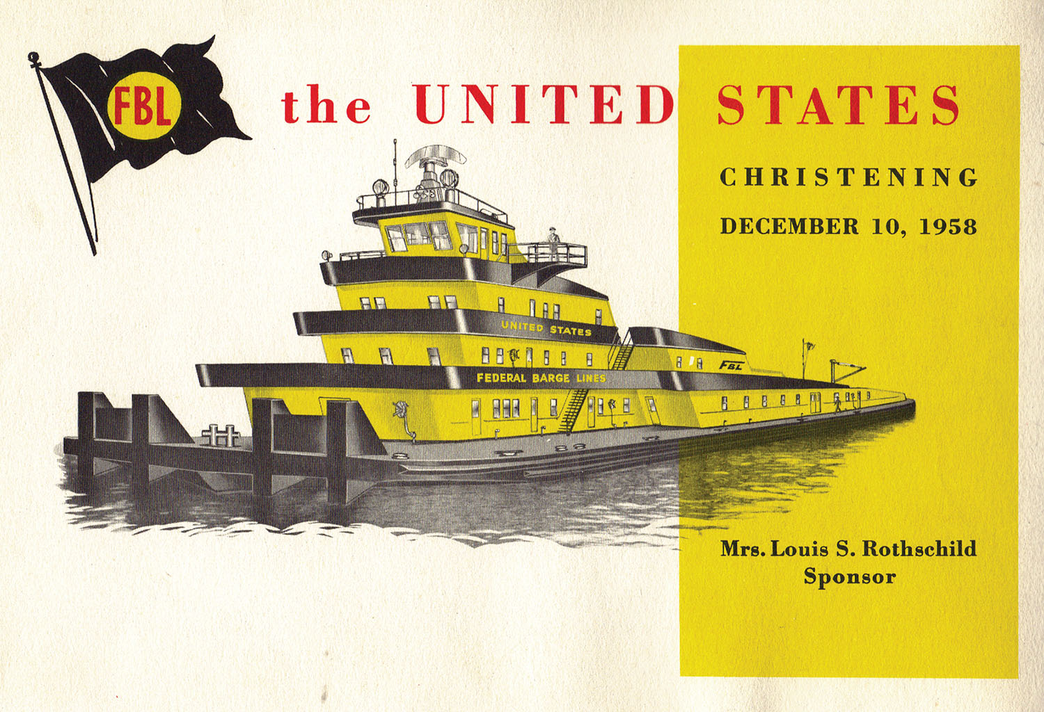 Cover of christening booklet for FBL towboat United States. (Keith Norrington collection)