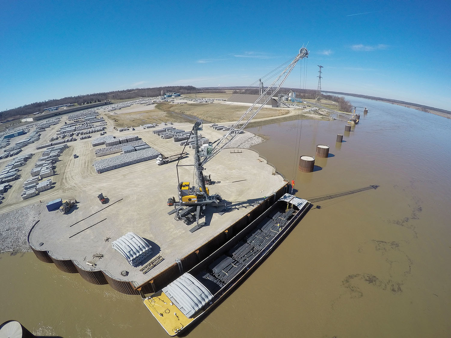 The Owensboro (Ky.) Riverport is utilizing a BUILD grant for road improvements from U.S. 60 to the port and to the main port access road. The port also plans to replace its material handler and spud barge. (Photo courtesy of the Owensboro Riverport Authority)