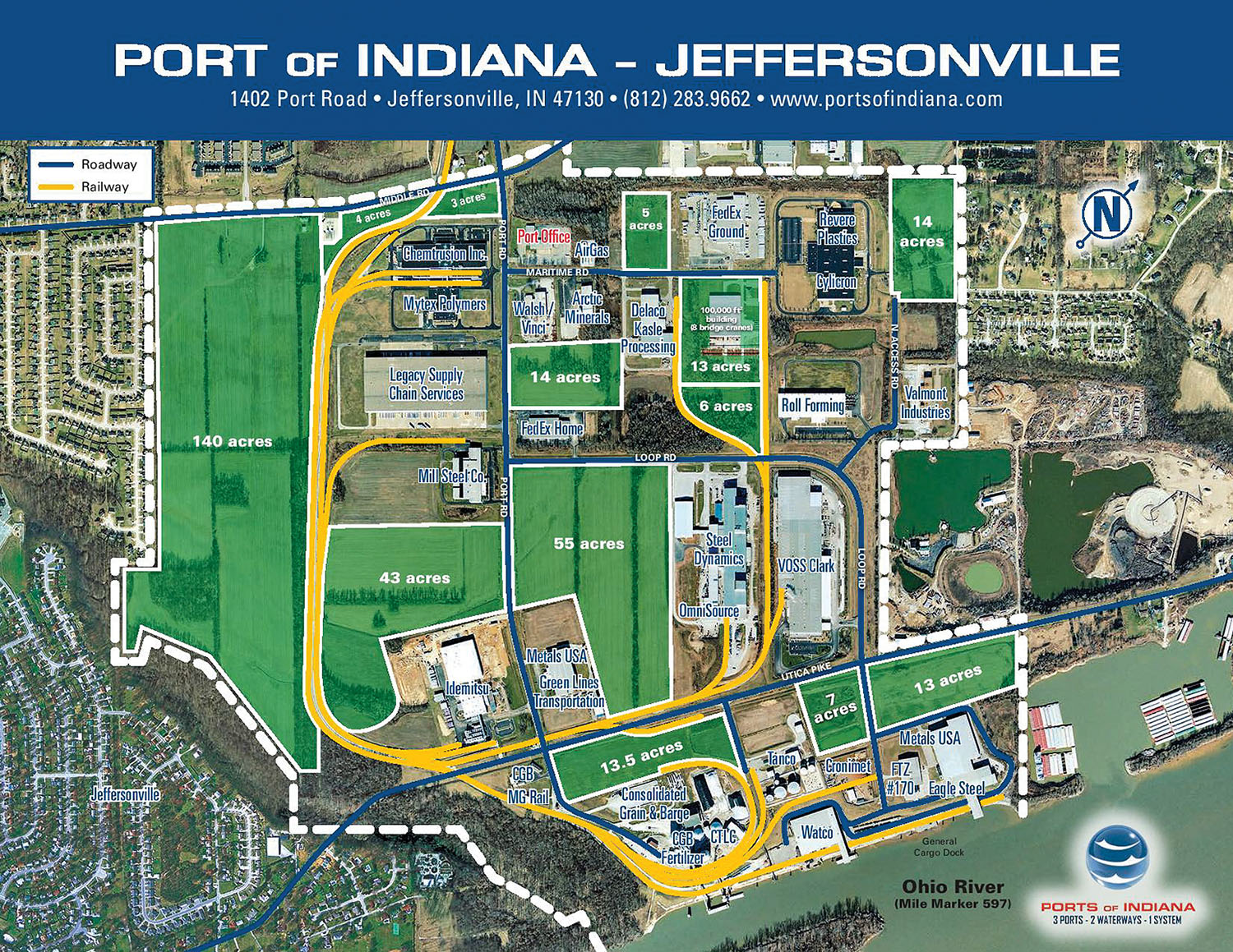 —courtesy of the Port of Indiana-Jeffersonville A map shows plans for the three-phase, $23 million infrastructure expansion expected to be completed at Port of Indiana-Jeffersonville by fall 2021. (Photo courtesy of the Port of Indiana-Jeffersonville)