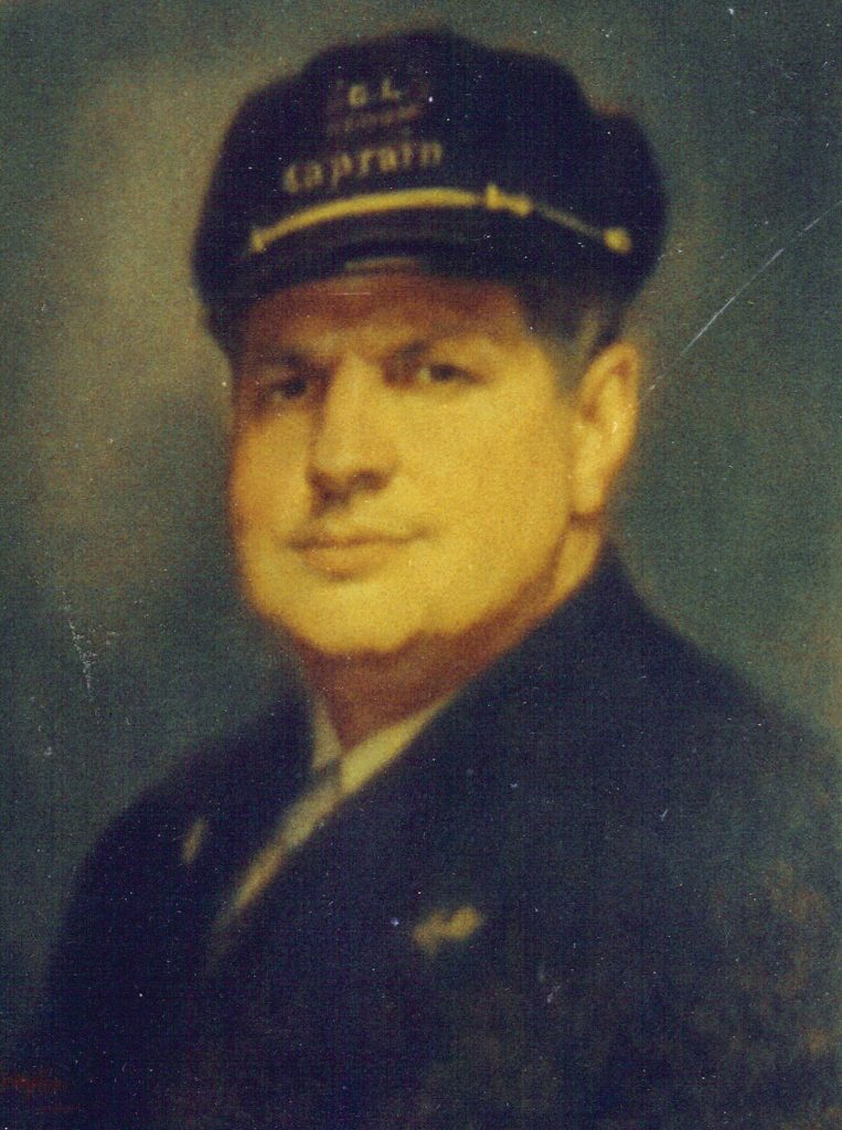 Portrait of Capt. Tom Greene by Vicksburg artist Caroline Compton for the River Hall of Fame aboard the Str. Sprague. The portrait was destroyed in the 1974 fire. (photo by Keith Norrington)