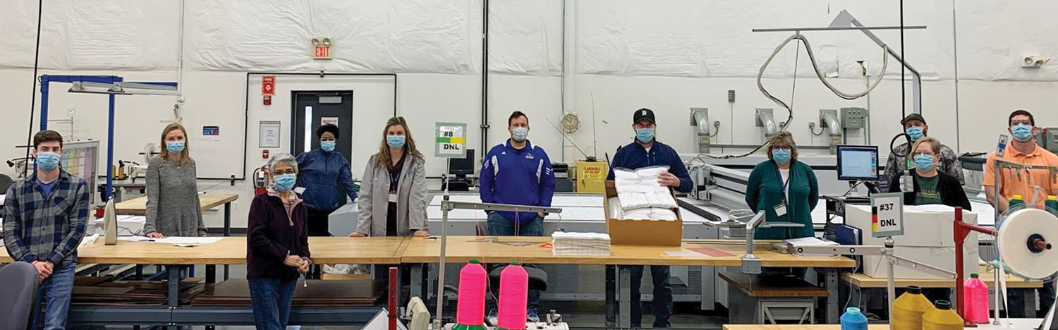 ZF workers making face masks in the company's Romeo, Mich., facility.