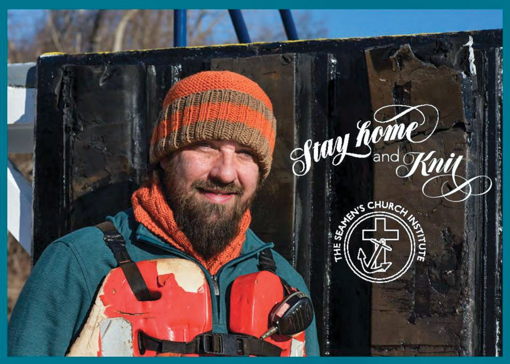 Seamen's Church Institute's new Stay Home and Knit program includes a program where post cards are sent out to some knitters, giving them encouragement to use their time at home to knit for SCI's Christmas at Sea/Christmas on the River program. (Photo courtesy of Seamen's Church Institute)