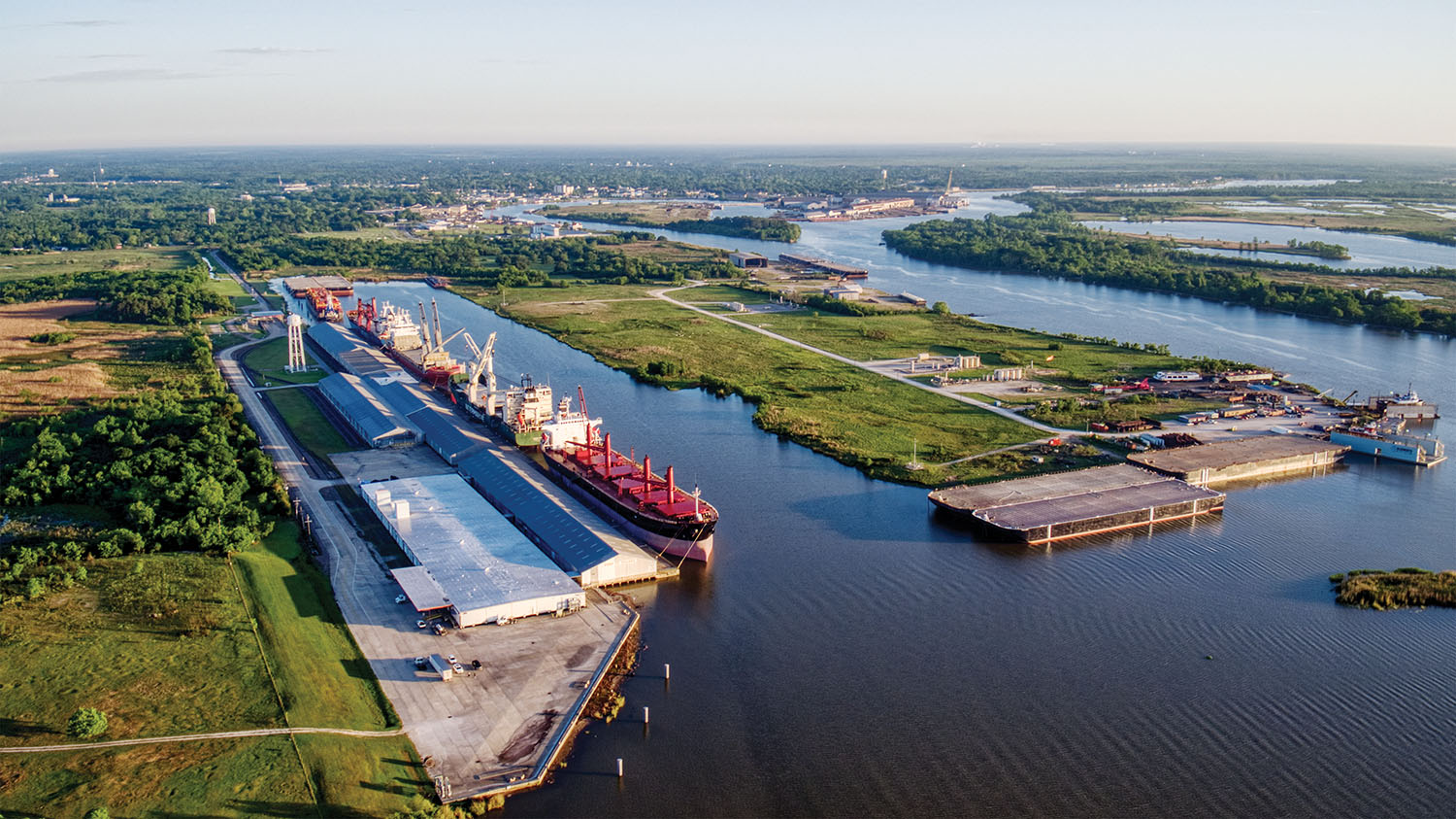 An aerial of the Port of Orange, including both moored cargo vessels and a view of greenfield space available for development. (Photo courtesy of Port of Orange)