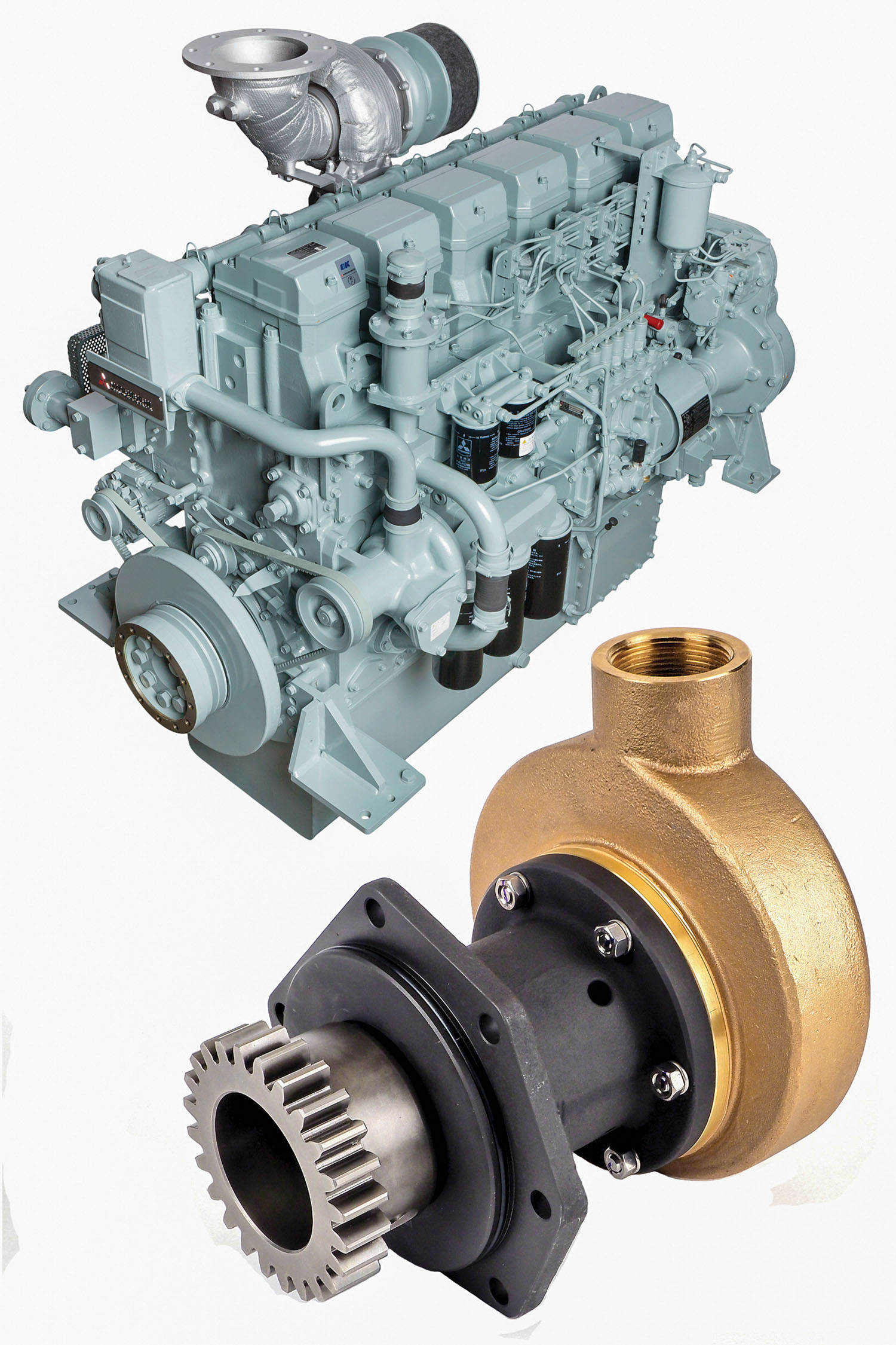 ME5000 series pumps can be configured three ways for different Mitsubishi engines.
