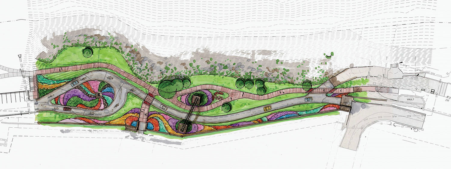 An artist rendering shows the fifth phase of the Clyde F. Boyles Greenway Trail in Paducah, connecting Shultz park near the city's transient boat dock with the downtown area near Jefferson Street via a hiking and biking trail. The phase also includes renovations to better accommodate vehicle traffic.
