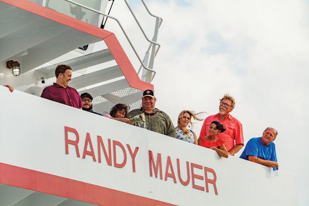 Cindy Mauer christens towboat named for her husband. (Photo by Frank McCormack)