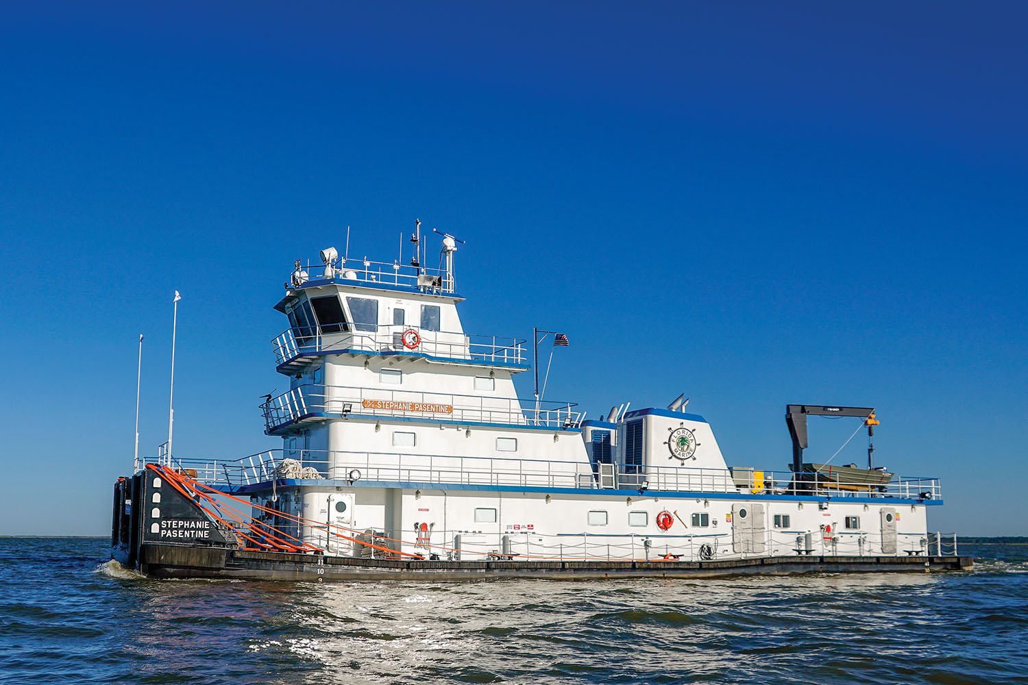The Stephanie Pasentine is Metal Shark's first steel new build and first inland towboat. (Photo courtesy of Metal Shark Alabama)