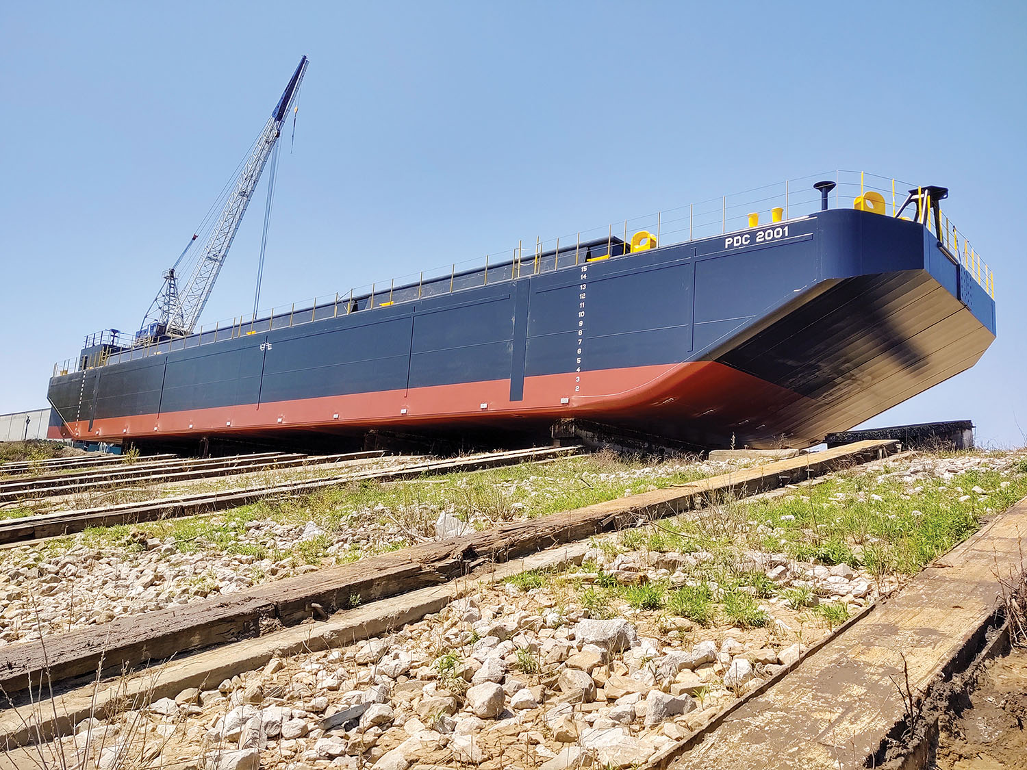 First of two barges slated for delivery to San Diego, Calif. (Photo courtesy of Corn Island Shipyard)