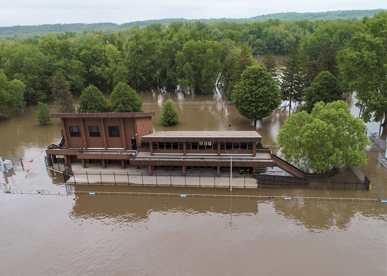 The Illinois Waterway Visitor Center at Starved Rock Lock and Dam at Ottawa, Ill., was an island last week as heavy rains caused flooding on the upper portions of the waterway. (Rock Island Engineer District photo)