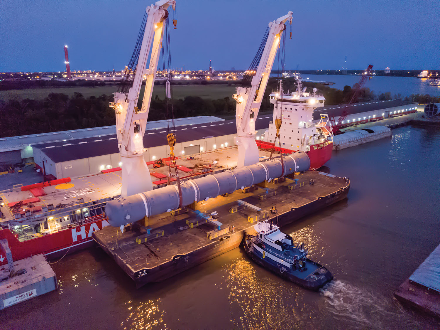 Project cargo is offloaded at Associated Terminal's Arabi, La., location on Chalmette Slip, part of the Port of St. Bernard. (Photo courtesy of Associated Terminals)