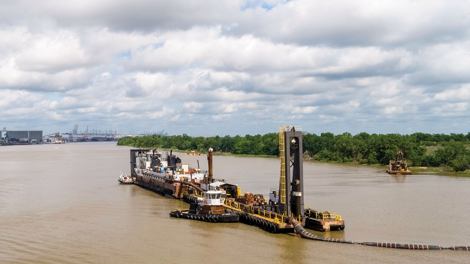 The Dredge Charleston of Norfolk Dredging is shown deepening the inner harbor of the Savannah River May 28. The project is on schedule for completion in January 2022. (Photo courtesy of Georgia Ports Authority)