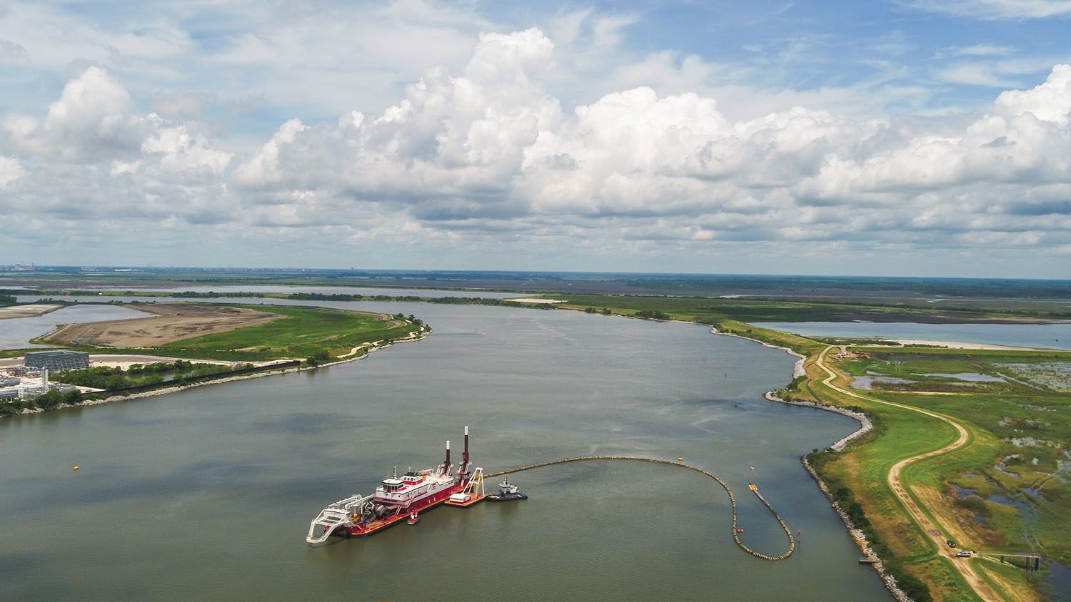 The Dredge Chatry of Weeks Marine is shown deepening the inner harbor of the Savannah River May 28 as part of the Savannah Harbor Expansion Project. (Photo courtesy of Georgia Ports Authority)